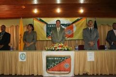 Mesa directiva del INSIMED. De izquierda a derecha: Dr. Tomás Caraballo, Lic. María Elena, Dr. Fauzi Bachá Arbaje, Arnol Ramsés Bachá y el Dr. Luis Pichardo.